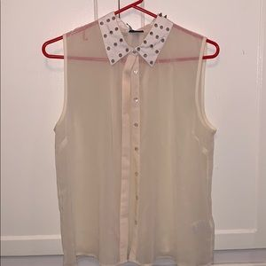Urban Outfitters sheer sleeveless top spike collar